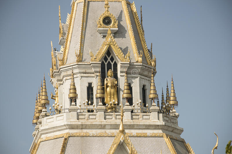 Marble church/temple Wat Sothorn, landmark in Chachoengsao. With sky background. Travel in Thailand stock photography