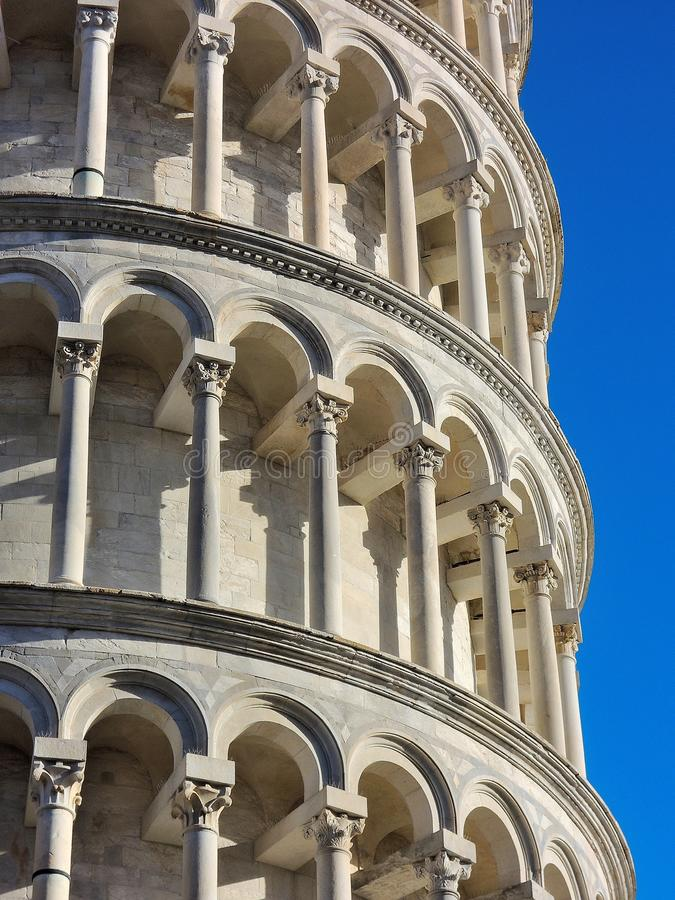 Marble Colonnade. Antic, wonderful marble colonnade with blue sky stock photos