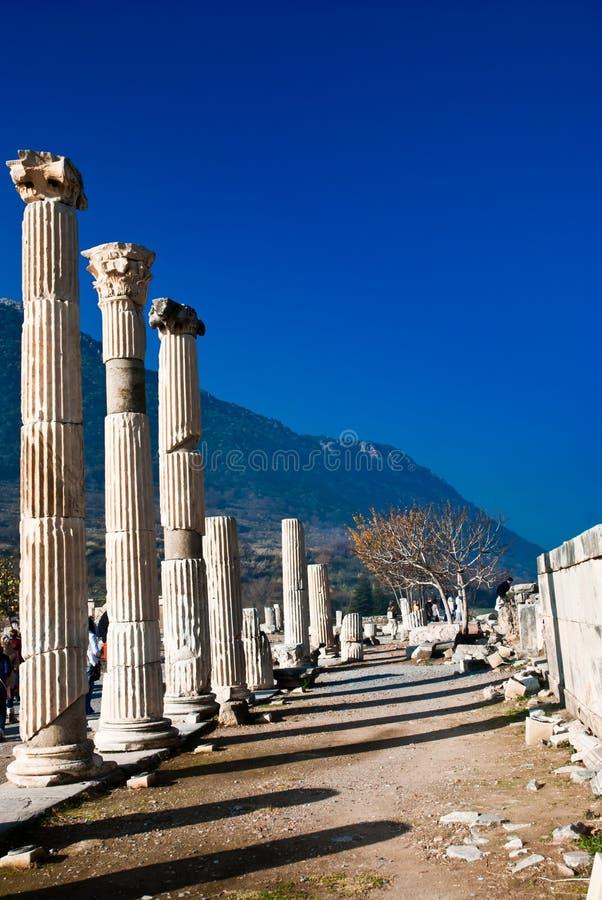 Marble column in Ephesus stock photo
