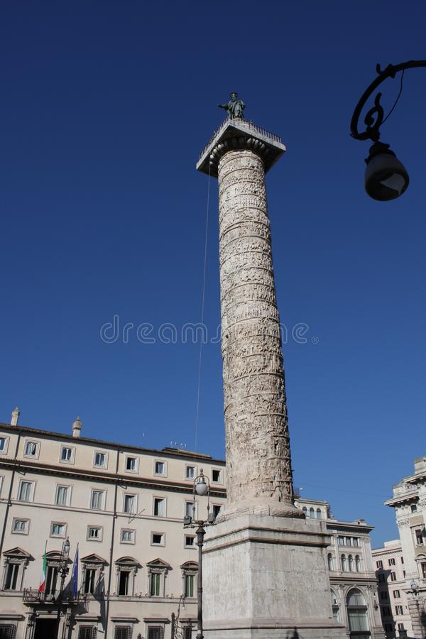 The marble Column of Marcus Aurelius in Piazza Colonna square in Rome, Italy. It is a Doric column about 100 feet high built in 2n royalty free stock photos