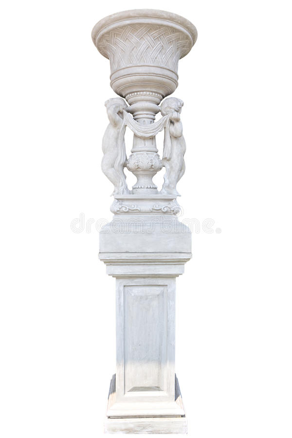 Marble column on white stock photography