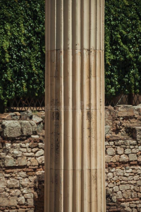 Marble columns on Roman Forum building in Merida stock photos