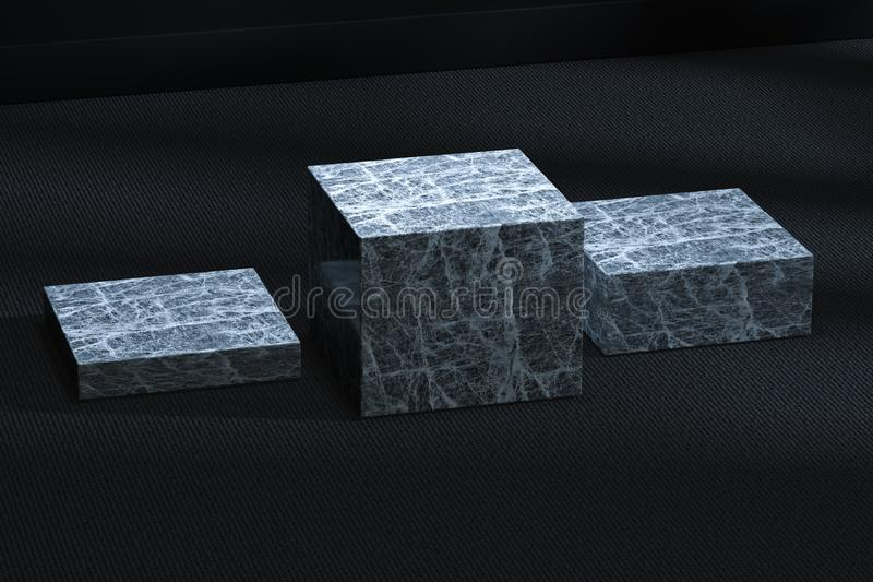 The marble cubic platform in the dark room, 3d rendering. Computer digital drawing, center, industry, product, graphic, foundation, display, exhibition stock illustration