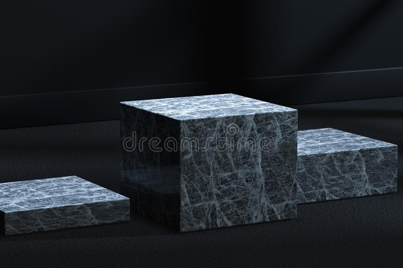 The marble cubic platform in the dark room, 3d rendering. Computer digital drawing, center, industry, product, graphic, foundation, display, exhibition vector illustration
