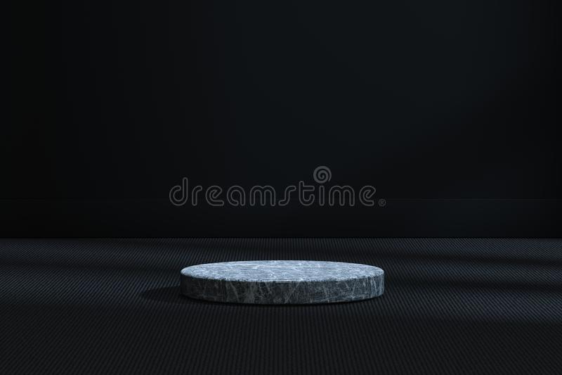 The marble cylinder platform in the dark room, 3d rendering. Computer digital drawing, center, industry, product, graphic, foundation, display, exhibition vector illustration