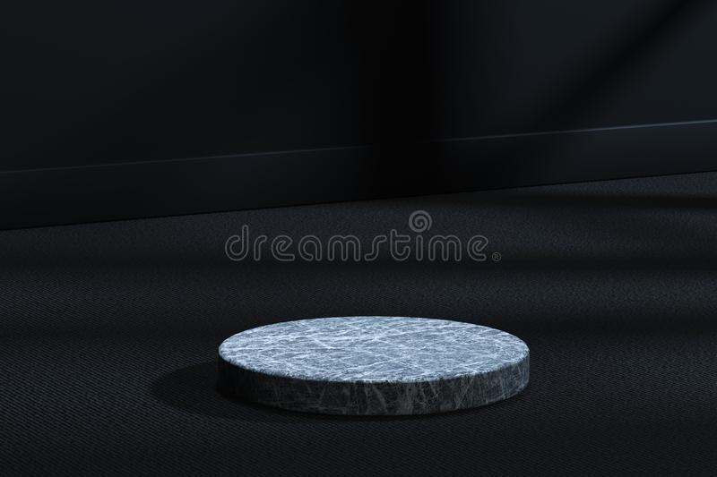 The marble cylinder platform in the dark room, 3d rendering. Computer digital drawing, center, industry, product, graphic, foundation, display, exhibition stock illustration