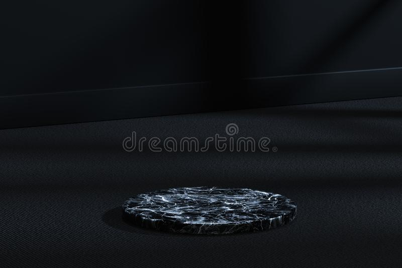 The marble cylinder platform in the dark room, 3d rendering. Computer digital drawing, center, industry, product, graphic, foundation, display, exhibition royalty free illustration