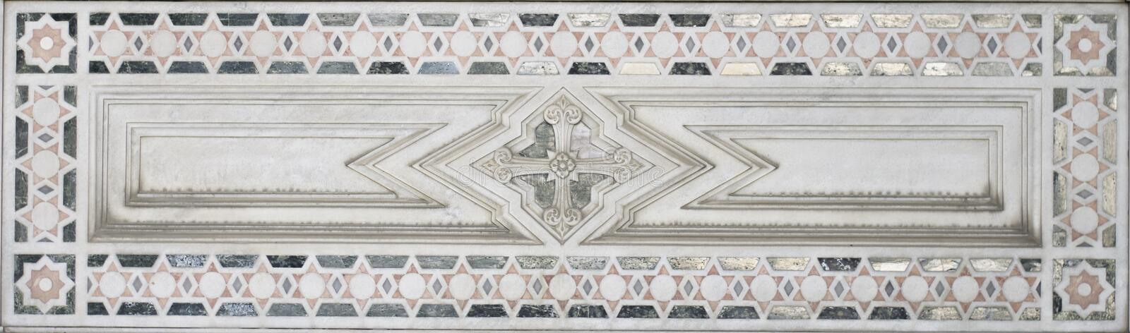 Marble Decoration (abstract star element pattern). Stone Marble Decoration of an historic monument. Taken in Genova, Italy. If needed I can provide tiff file royalty free stock images