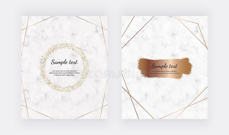 Marble design cards with golden circle confetti frame and rose gold lines and brush stroke. Trendy templates for banner, flyer, po royalty free illustration