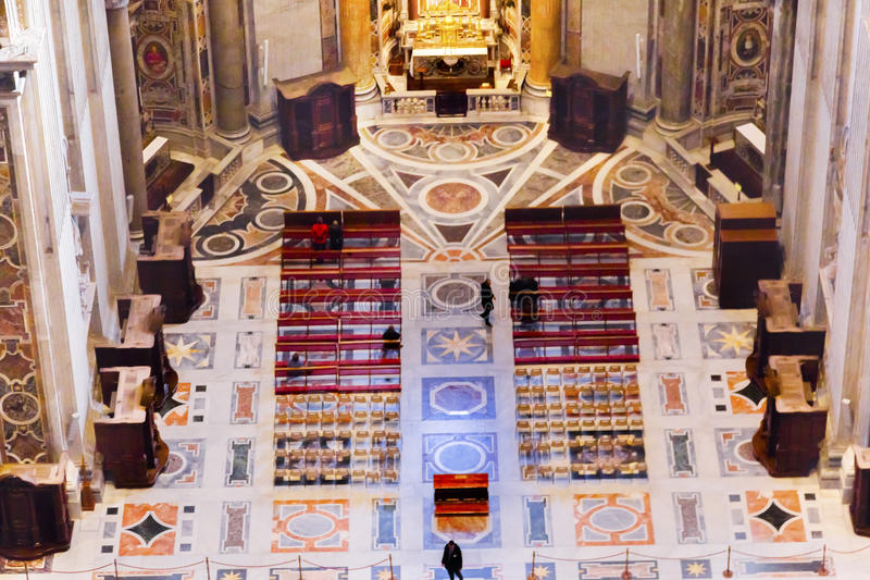 Marble Floor Altar Dome Saint Peter`s Basilica Vatican Rome ItalY stock photography