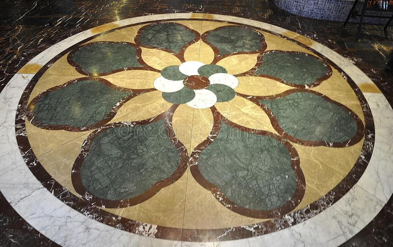 Marble floor design in a Chinese Hotel Lobby. Beautiful marble floor design in a Chinese Hotel Lobby from Beijing on may 2018 stock photography