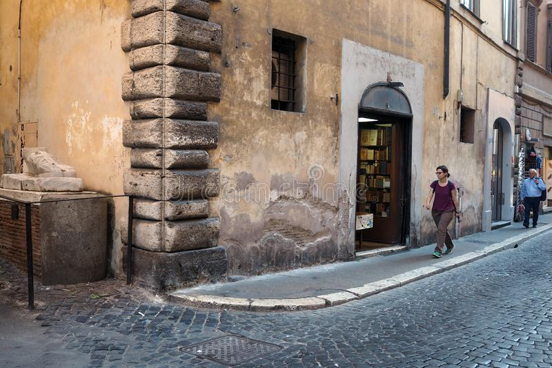 The Marble Foot Street in the city centre of Rome. View of the Marble Foot Street in the city centre of Rome on the corner with Via Santo Stefano del Cacco. The royalty free stock photography