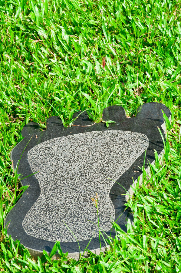 Marble Footprint. A Marble Footprint Decorated Lawn stock image