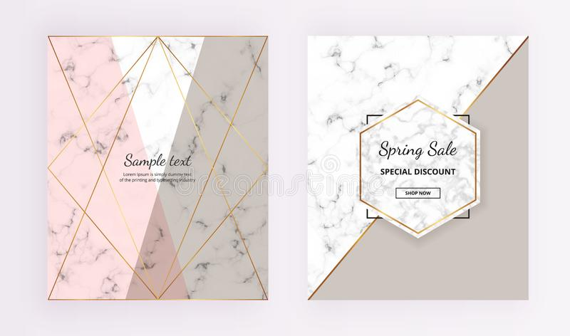 Marble geometric cover designs. Pink, grey, gold lines background. Trendy template for designs banner, card, flyer, invitation. Party, birthday, wedding stock illustration
