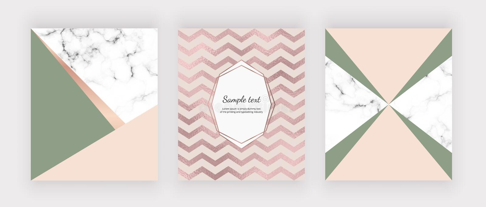 Marble geometric design with pink and green triangular, chevron foil texture. Modern templates for wedding invitation, banner, log stock illustration