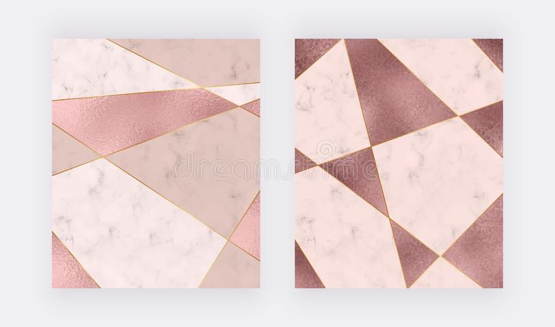 Marble geometric design with pink and rose gold triangular foil texture, golden polygonal lines. Modern background for wedding inv stock illustration