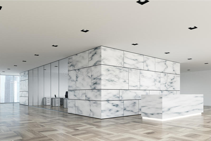 Marble and glass reception lobby side. Marble and white office lobby with a glass wall open space room and a wooden reception counter. Side view 3d rendering stock illustration