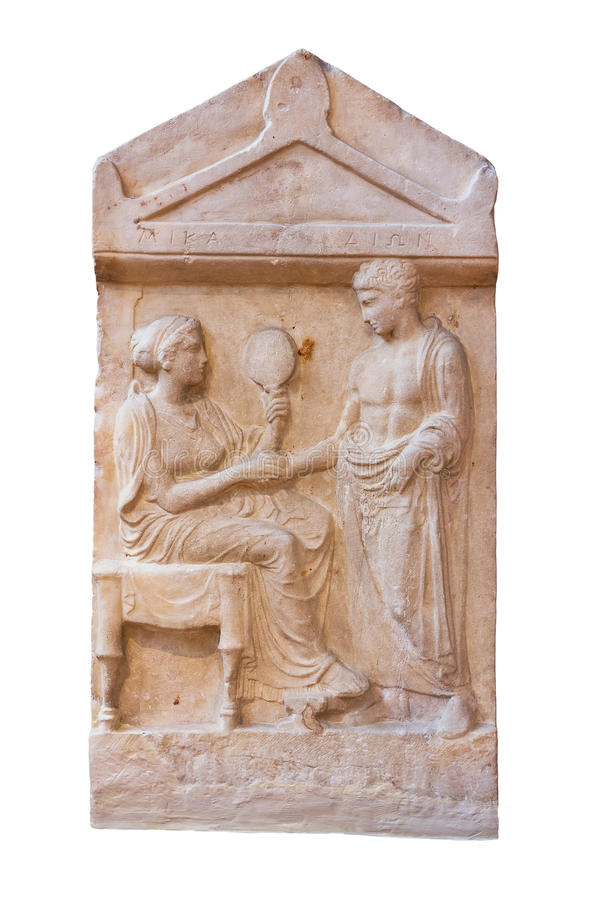 Download Marble Grave Stele Of Mika And Dion (400 B.C.) Stock Image - Image: 26343785
