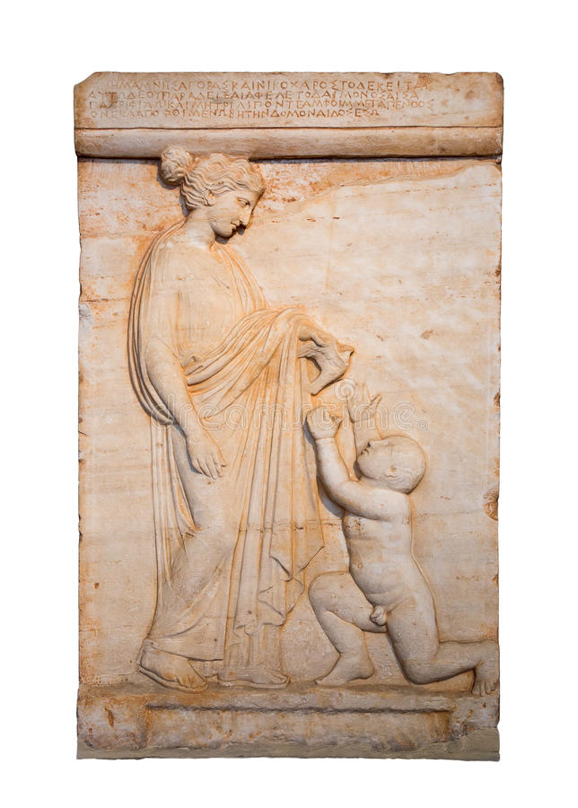 Marble Grave Stele Shows A Girl Offering A Bird To A Naked Boy Stock Images