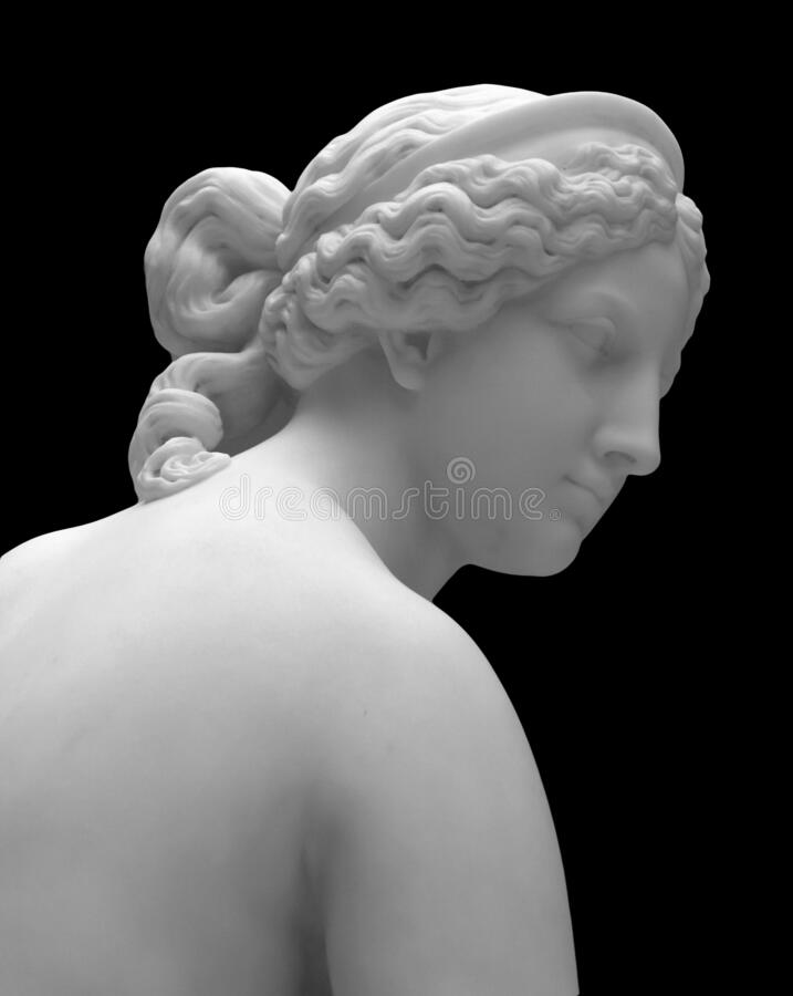 Free Marble Head Sculpture Of Young Woman, Ancient Greek Goddess Art Bust Statue Isolated On Black Background Royalty Free Stock Image - 170062776
