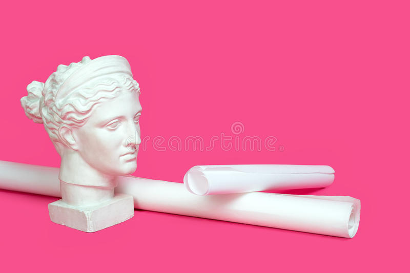 Marble head of young woman, ancient Greek goddess bust with paper rolls or scrolls on pink background. Architecture, art royalty free stock photography