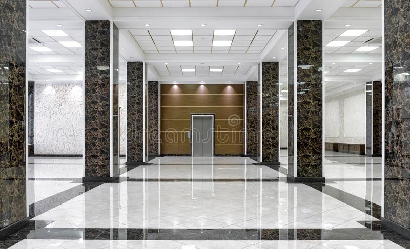 Marble interior of a luxury lobby of company or hotel royalty free stock images