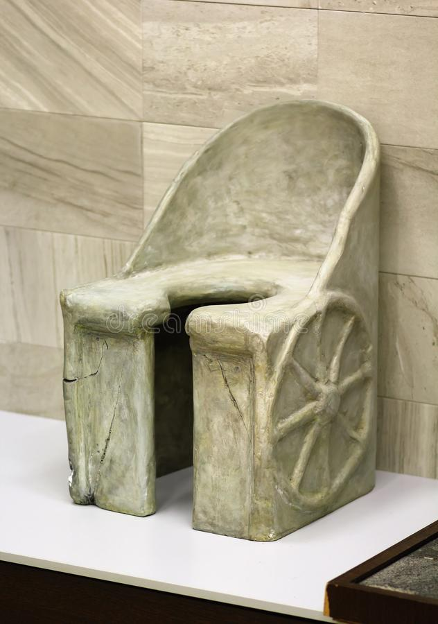 Marble latrine in the form of chariot from the Baths of Caracalla, Rome Empire. Marble latrine in the form of chariot from the Baths of Caracalla, Rome, c. 212 stock photography