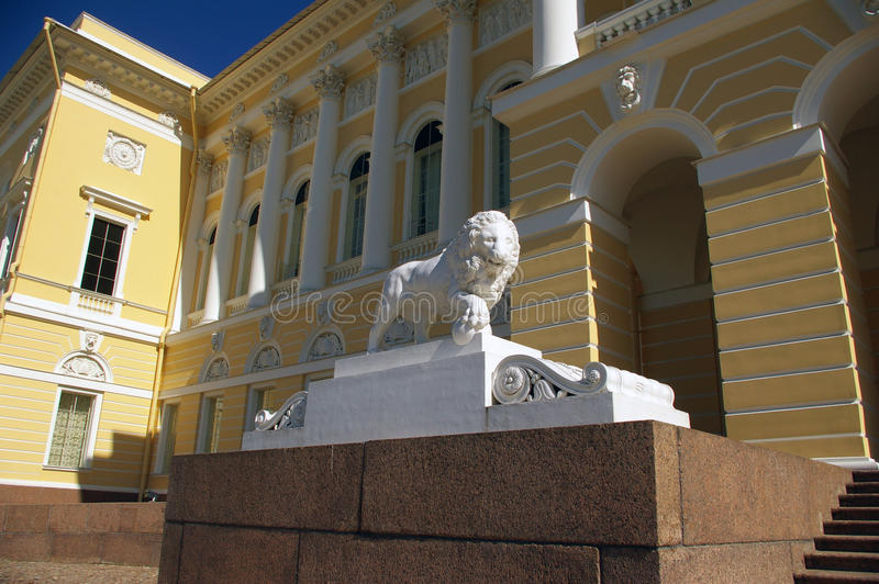 Marble lion at the Russian museum of fine arts. stock photos