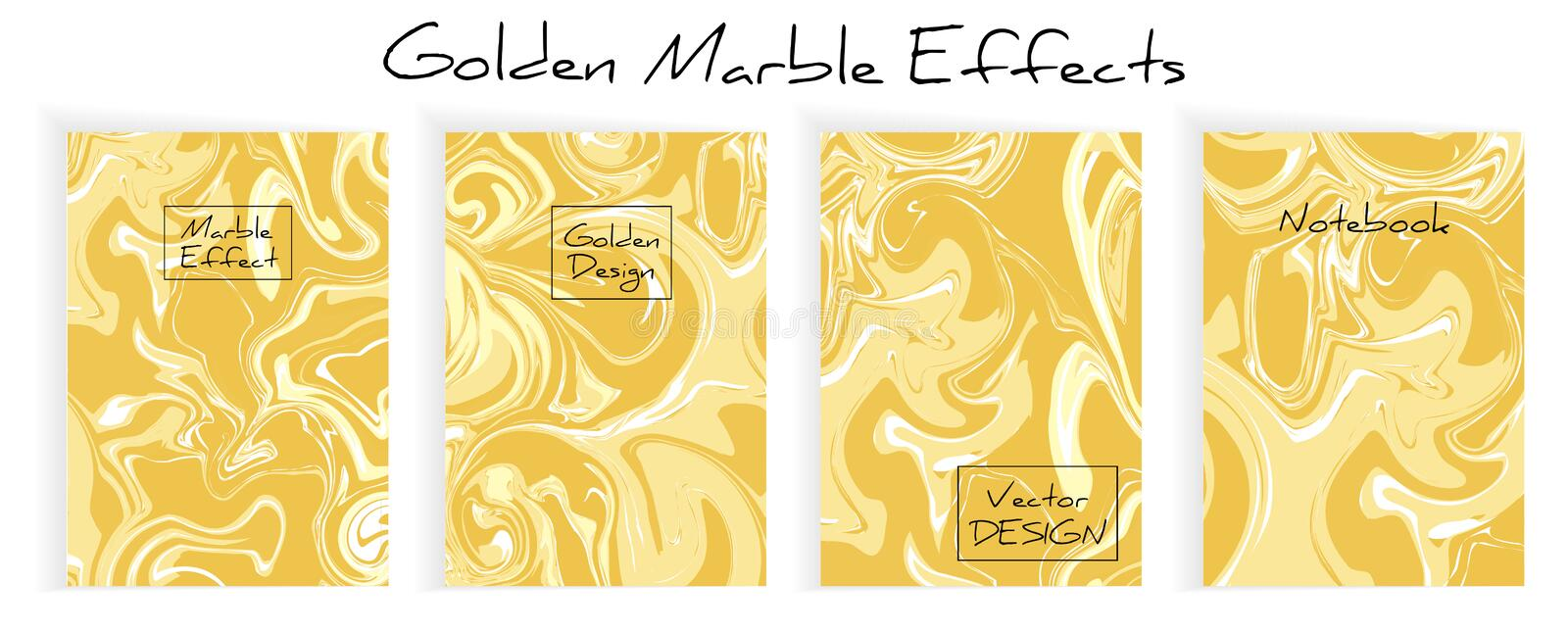 Marble liquid art background with golden effect and textured vector set illustrations. For banners, templates, backdrops vector illustration