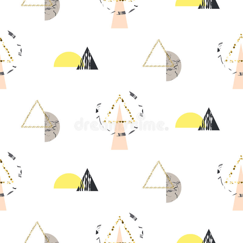 Marble memphis retro 80s seamless vector pattern. Abstract color blocks and elements in eighties fashion style. Geometry triangles on white with geo semisphere stock illustration