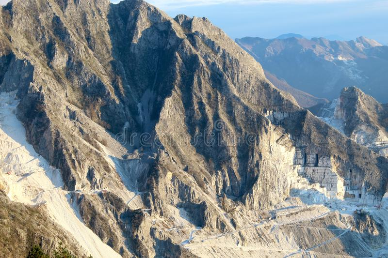 The marble mountains in Italy. This is Campo Cecina in Tuscany , Italy. These are the mountains of the marble. It is really on top of the beautiful mountains royalty free stock image
