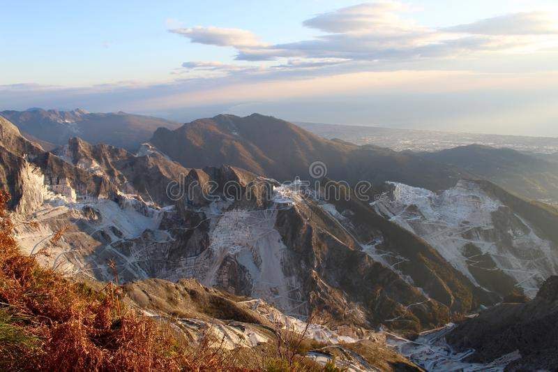 The marble mountains in Italy. This is Campo Cecina in Tuscany , Italy. These are the mountains of the marble. It is really on top of the beautiful mountains royalty free stock photo