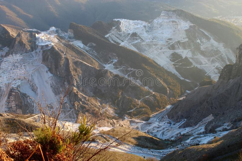 The marble mountains in Italy. This is Campo Cecina in Tuscany , Italy. These are the mountains of the marble. It is really on top of the beautiful mountains stock image