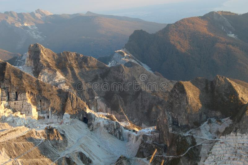 The marble mountains in Italy. This is Campo Cecina in Tuscany , Italy. These are the mountains of the marble. It is really on top of the beautiful mountains stock images