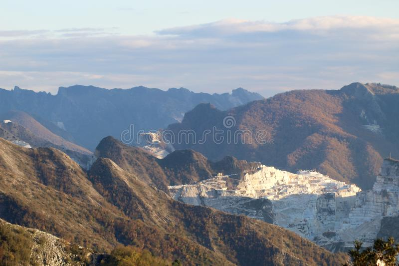 The marble mountains in Italy stock photos