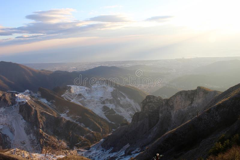 The Marble mountains in Italy. This is Campo Cecina in Tuscany , Italy. These are the mountains of the marble. It is really on top of the beautiful mountains royalty free stock photos