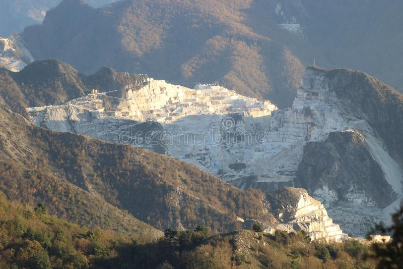 The Marble mountains in Italy. This is Campo Cecina in Tuscany , Italy. These are the mountains of the marble. It is really on top of the beautiful mountains royalty free stock photography