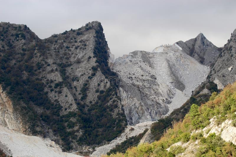 The Marble mountains in Italy. These are the mountains where they get the marble to sell over the whole wide world royalty free stock images