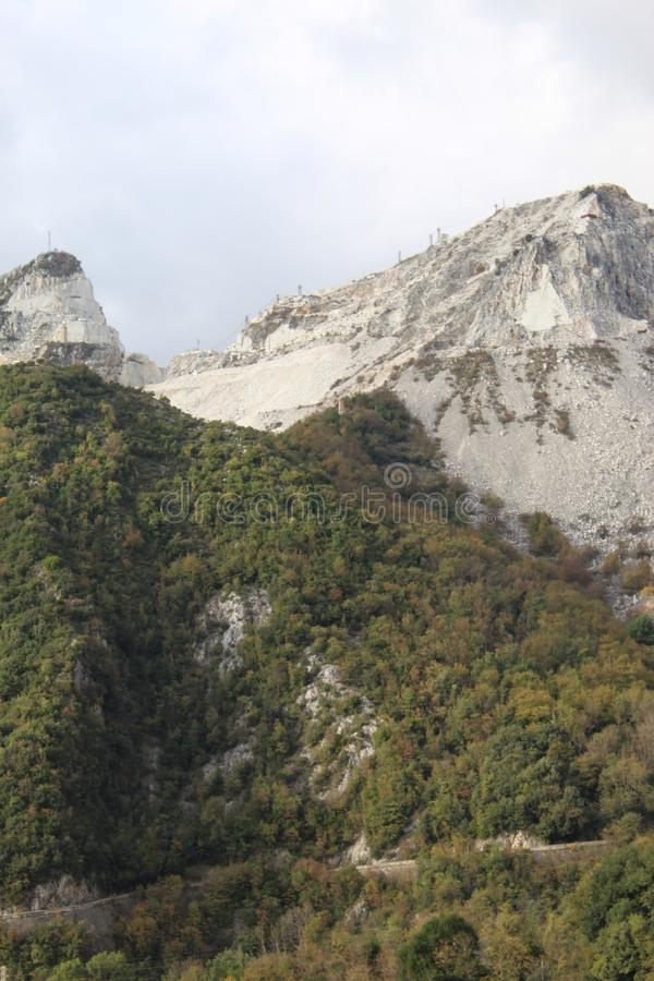 The Marble mountains in Italy. These are the mountains where they get the marble to sell over the whole wide world stock images