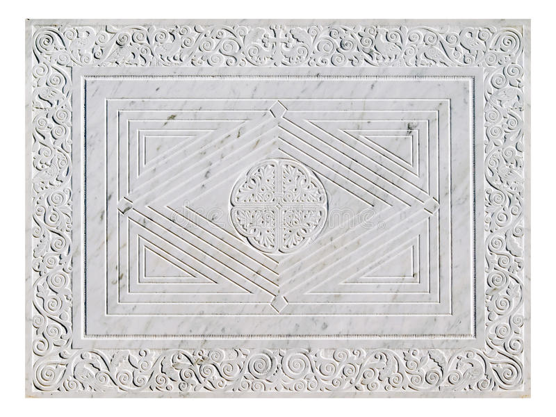 Marble ornate plate. Marble ornate plate isolated on white stock images