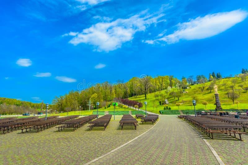 Marble park in Zagorje, Marija Bistrica. Scenic view at colorful outdoors park in Marija Bistrica shrine, Croatia Zagorje royalty free stock photography