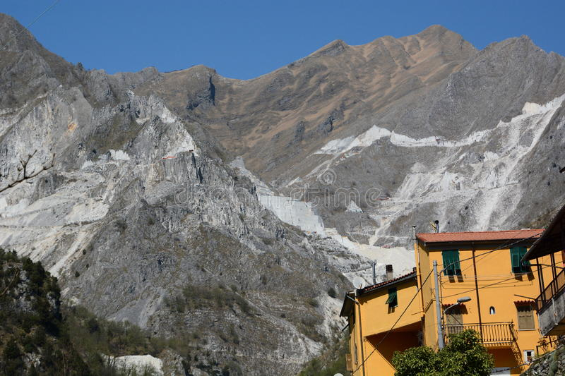 Marble quarries. Colonnata. Apuan alps. Massa and Carrara province. Tuscany. Italy. Colonnata is an Italian ancient village and a hamlet of the comune of Carrara royalty free stock images