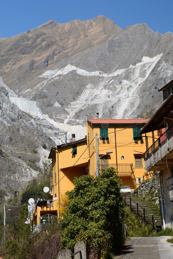 Marble quarries. Colonnata. Apuan alps. Massa and Carrara province. Tuscany. Italy. Colonnata is an Italian ancient village and a hamlet of the comune of Carrara stock photos