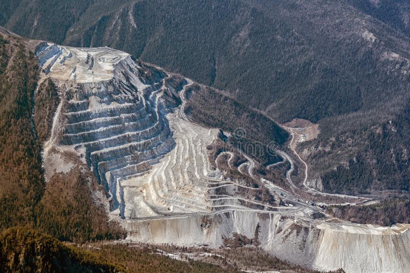 Marble quarry aerial view shot on drone. Industrial industrial development of terrestrial resources royalty free stock photography