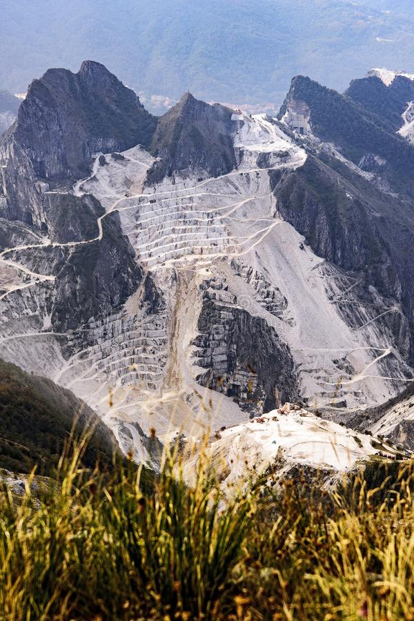 Carrara marble quarries. Devastation of the marble quarries in the Apuan Alps, Carrara - Italy stock photo