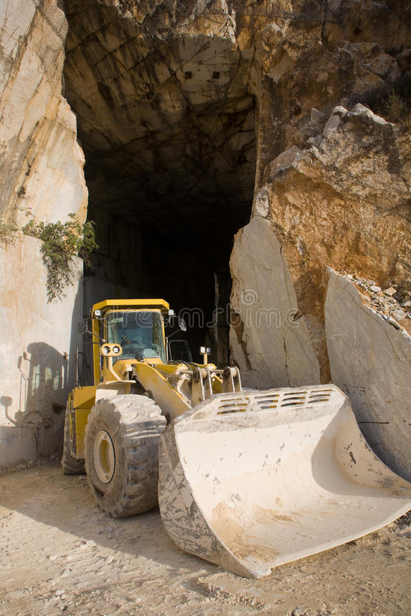 Marble quarry entrance in Carrara stock photo
