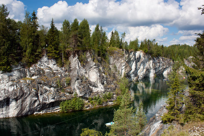 Marble quarry in Karelia, Russia stock images