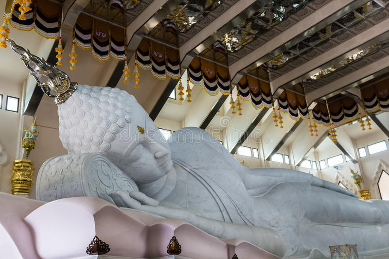 Marble of Reclining Buddha statue in Temple of watpaphukon, asia royalty free stock images