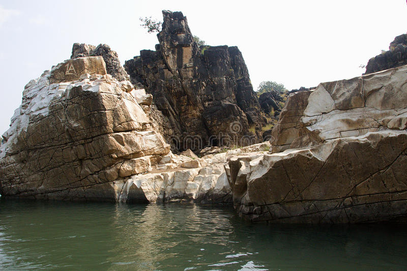 Marble Rocks at Bedaghat royalty free stock photo