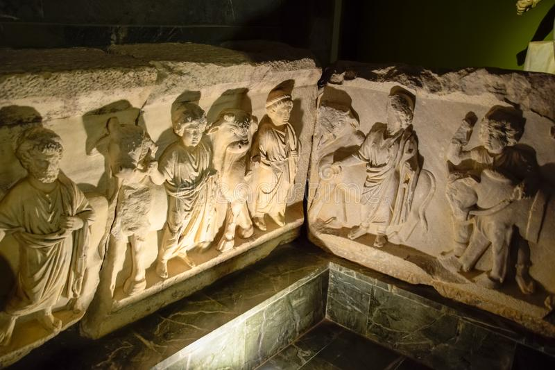 Marble sarcophagus. Sarcophagi from the excavations of the city of Perge stock photo